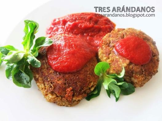 hamburguesas de lentejas con confitura de tomate